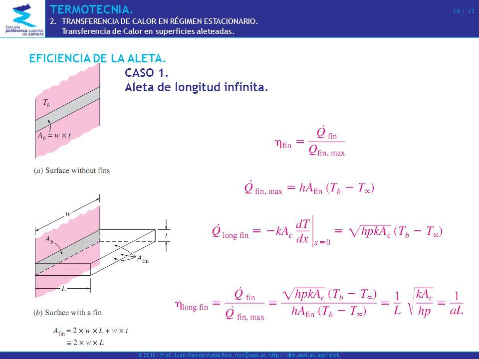 EFICIENCIA DE LA ALETA. CASO 1. Aleta de longitud infinita. © 2010 · Prof. Juan-Ramón Muñoz Rico. rico@usal.es. http://dim.usal.es/eps/mmt. TERMOTECNI