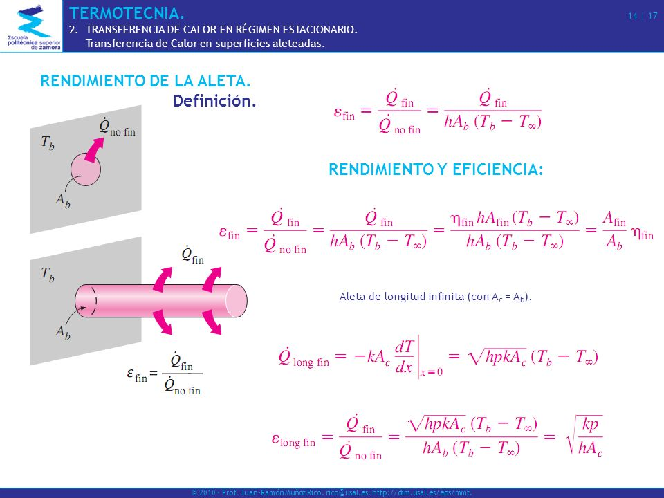 RENDIMIENTO DE LA ALETA. Definición. RENDIMIENTO Y EFICIENCIA: Aleta de longitud infinita (con A c = A b ). © 2010 · Prof. Juan-Ramón Muñoz Rico. rico