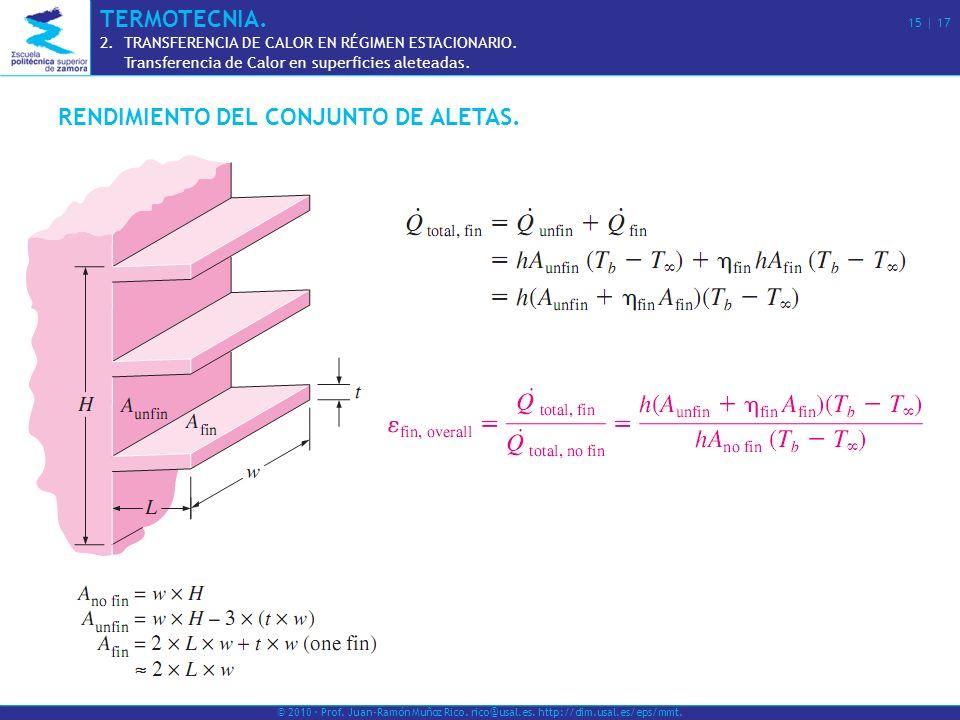 RENDIMIENTO DEL CONJUNTO DE ALETAS.© 2010 · Prof.