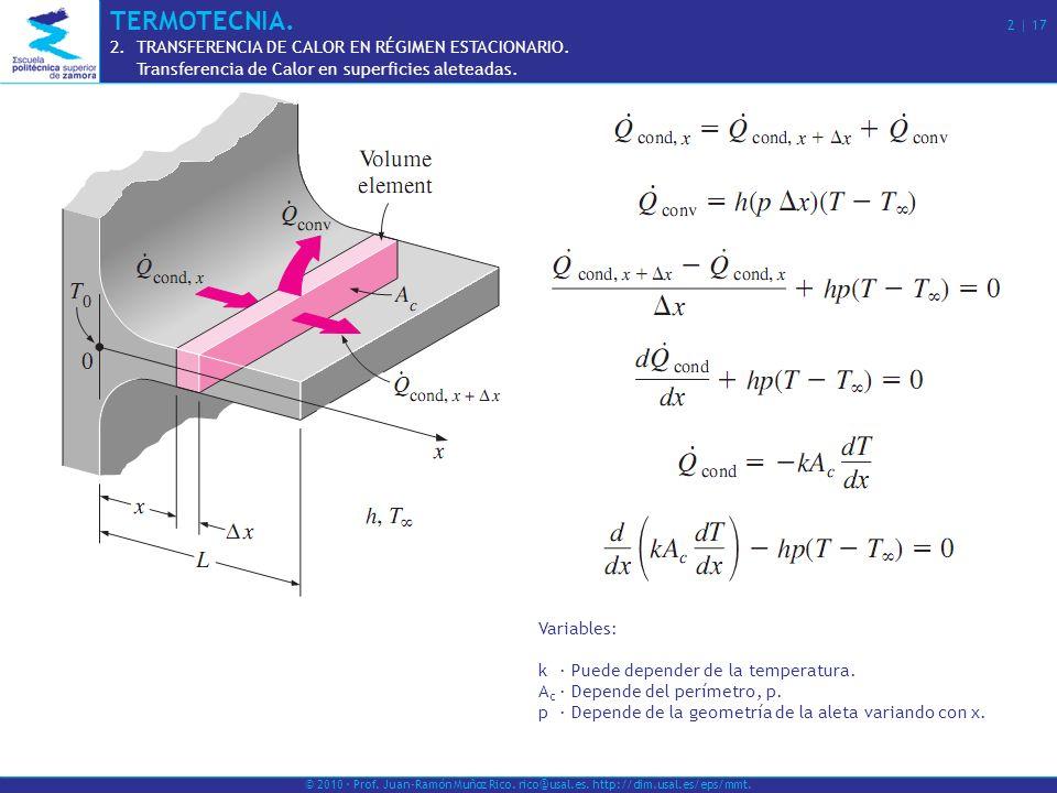 © 2010 · Prof. Juan-Ramón Muñoz Rico. rico@usal.es. http://dim.usal.es/eps/mmt. Variables: k· Puede depender de la temperatura. A c · Depende del perí