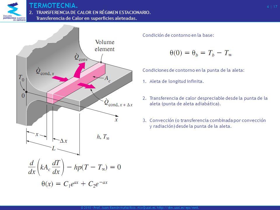 Condición de contorno en la base: Condiciones de contorno en la punta de la aleta: 1.Aleta de longitud infinita. 2.Transferencia de calor despreciable