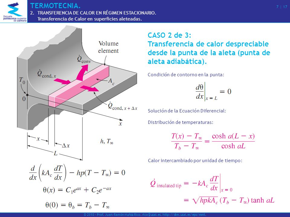 CASO 3 de 3: Convección (o transferencia combinada por convección y radiación) desde la punta de la aleta.