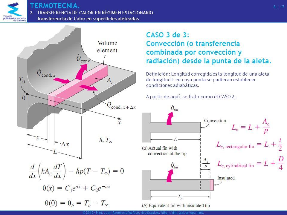 CASO 3 de 3: Convección (o transferencia combinada por convección y radiación) desde la punta de la aleta. Definición: Longitud corregida es la longit
