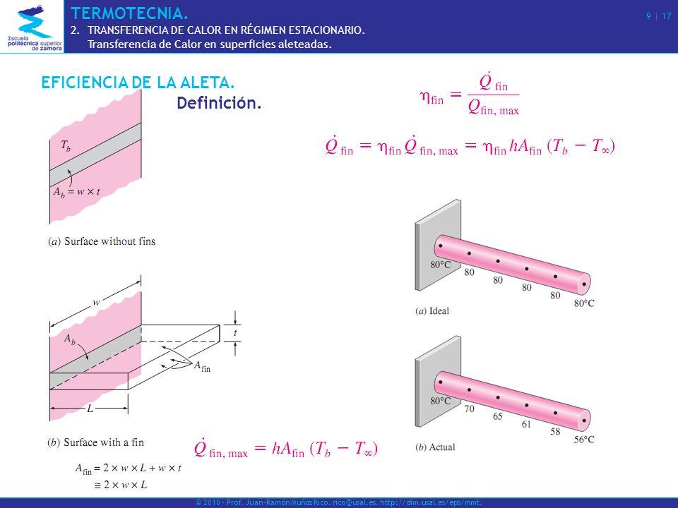 EFICIENCIA DE LA ALETA. Definición. © 2010 · Prof. Juan-Ramón Muñoz Rico. rico@usal.es. http://dim.usal.es/eps/mmt. TERMOTECNIA. 9 | 17 2.TRANSFERENCI