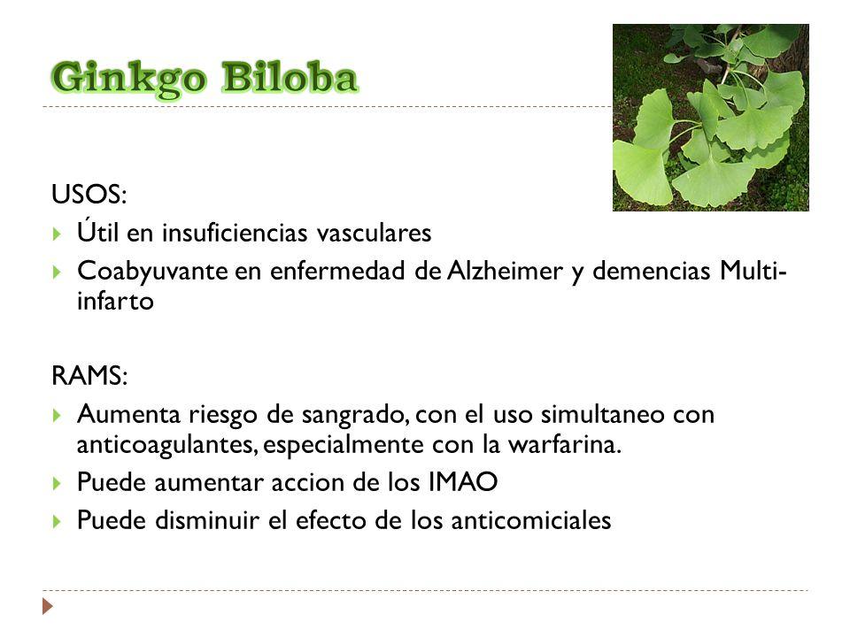 USOS: Útil en insuficiencias vasculares Coabyuvante en enfermedad de Alzheimer y demencias Multi- infarto RAMS: Aumenta riesgo de sangrado, con el uso