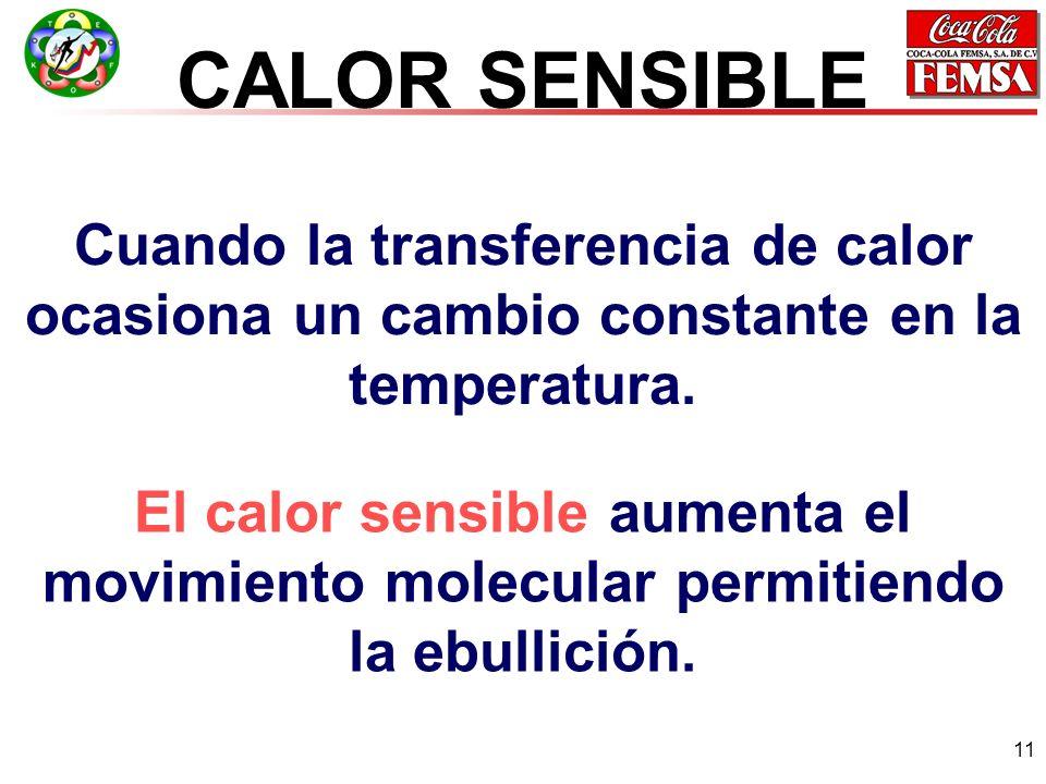 11 CALOR SENSIBLE Cuando la transferencia de calor ocasiona un cambio constante en la temperatura.