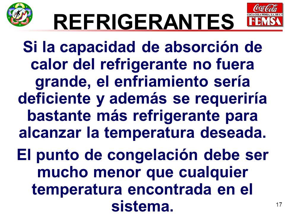 17 Si la capacidad de absorción de calor del refrigerante no fuera grande, el enfriamiento sería deficiente y además se requeriría bastante más refrigerante para alcanzar la temperatura deseada.