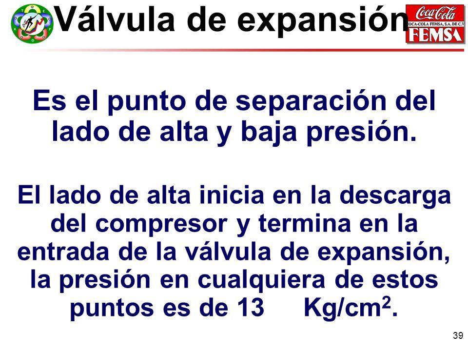 39 Válvula de expansión Es el punto de separación del lado de alta y baja presión.