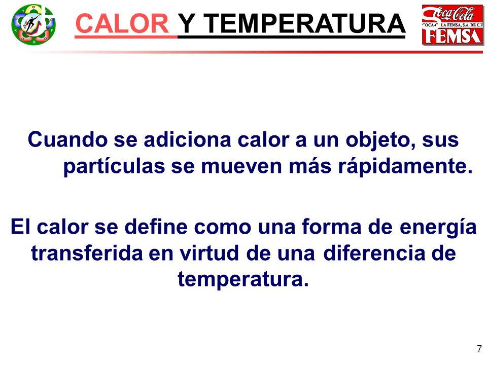 7 Principios básicos CALOR Y TEMPERATURA Cuando se adiciona calor a un objeto, sus partículas se mueven más rápidamente.