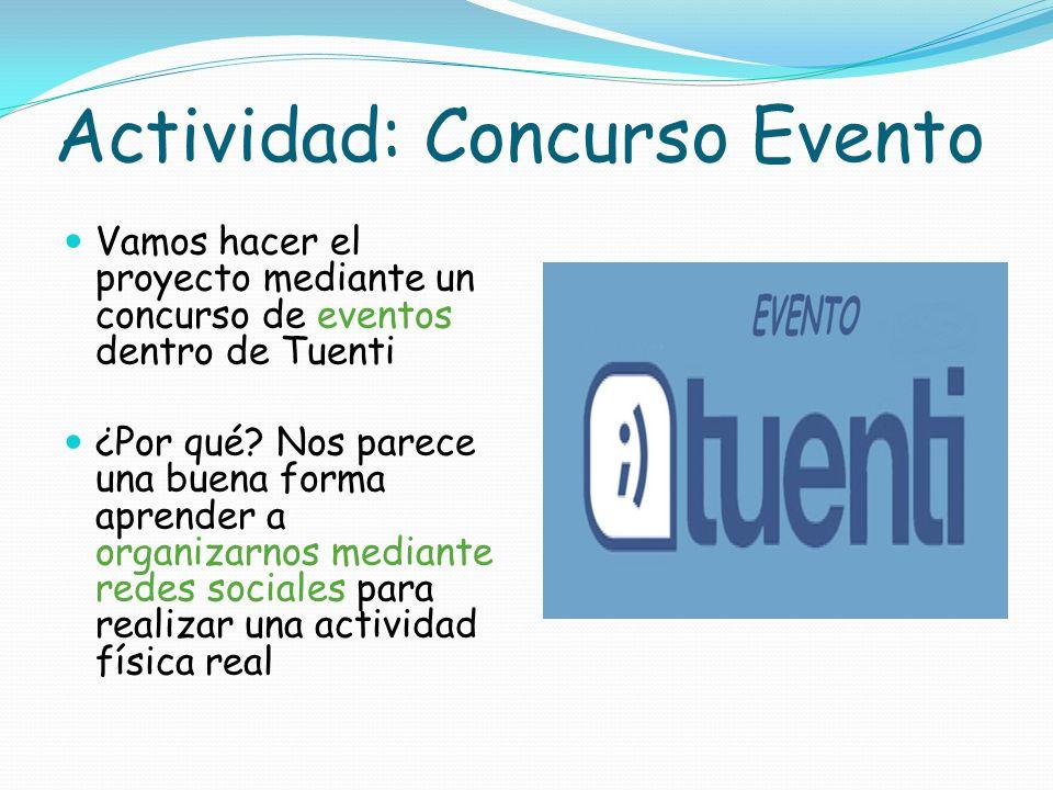 Actividad: Concurso Evento Vamos hacer el proyecto mediante un concurso de eventos dentro de Tuenti ¿Por qué? Nos parece una buena forma aprender a or
