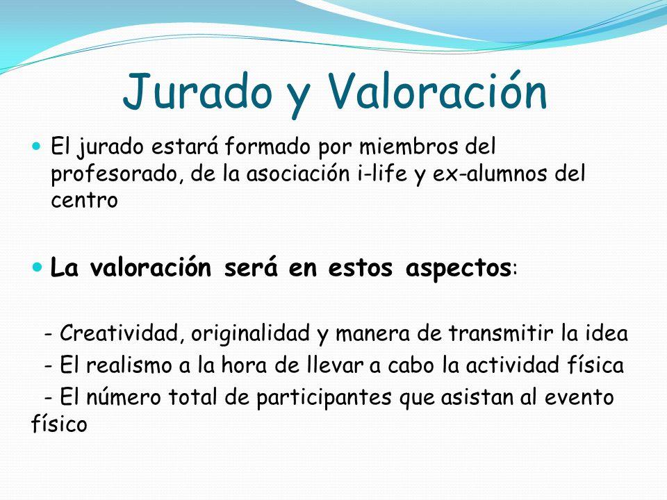 Jurado y Valoración El jurado estará formado por miembros del profesorado, de la asociación i-life y ex-alumnos del centro La valoración será en estos
