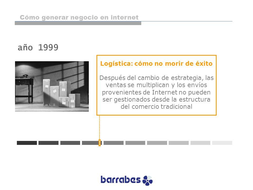 año 1999 Logística: cómo no morir de éxito Después del cambio de estrategia, las ventas se multiplican y los envíos provenientes de Internet no pueden