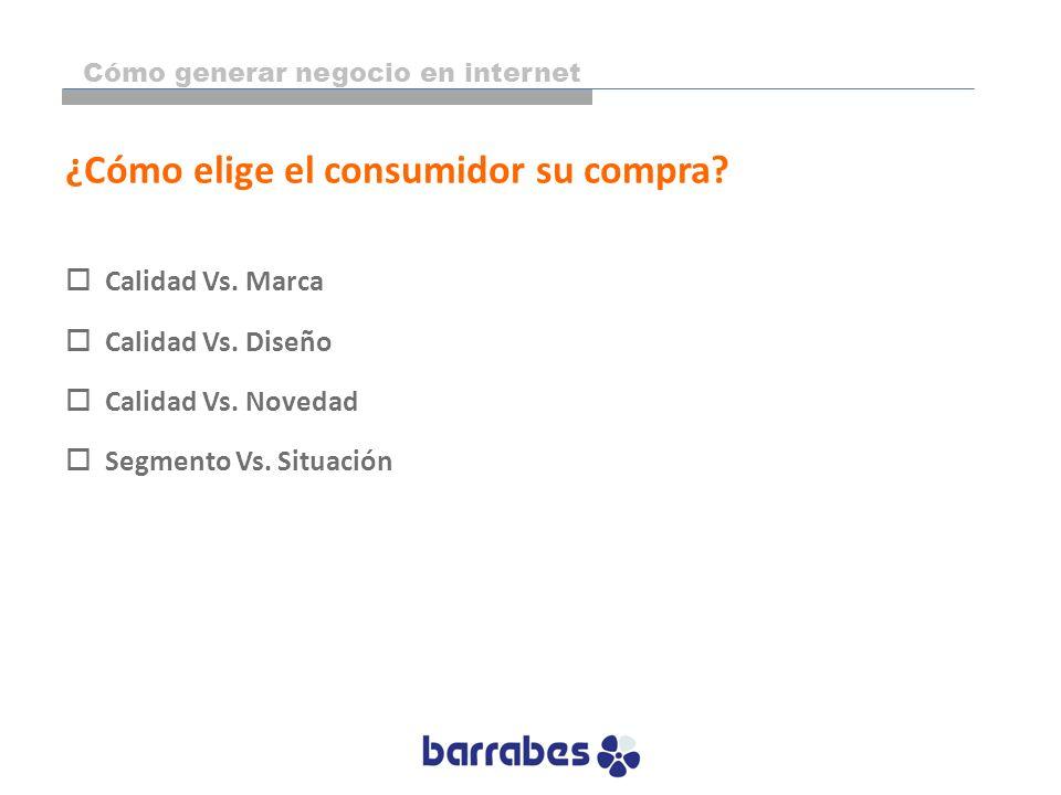 ¿Cómo elige el consumidor su compra? Calidad Vs. Marca Calidad Vs. Diseño Calidad Vs. Novedad Segmento Vs. Situación Cómo generar negocio en internet