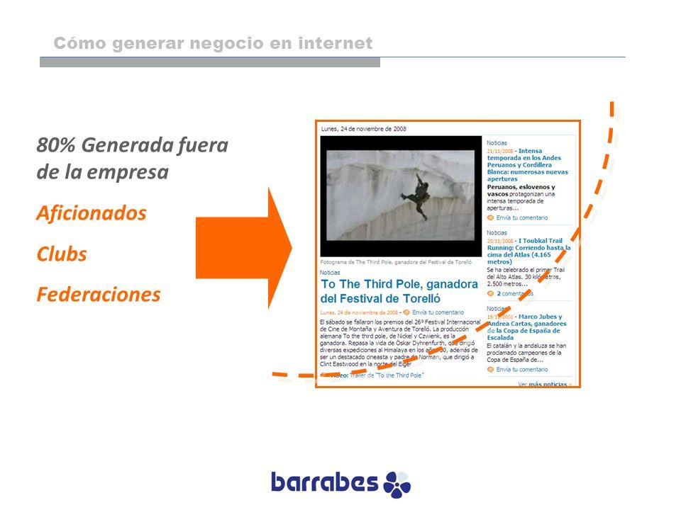 80% Generada fuera de la empresa Aficionados Clubs Federaciones Cómo generar negocio en internet
