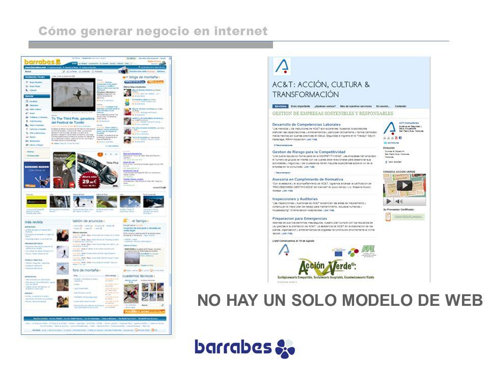NO HAY UN SOLO MODELO DE WEB Cómo generar negocio en internet