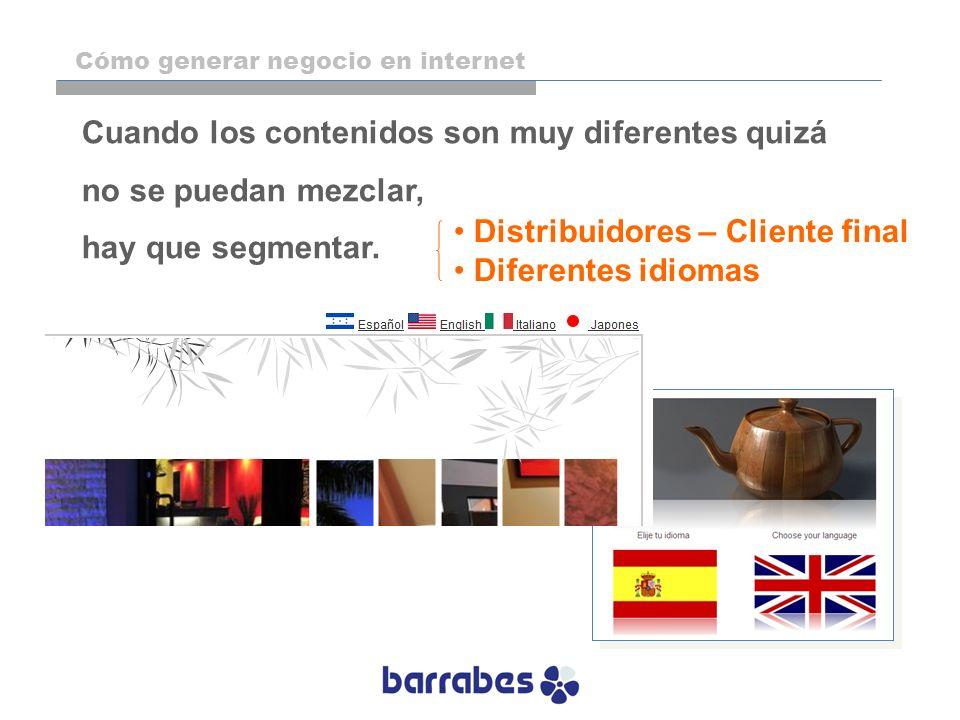 Cuando los contenidos son muy diferentes quizá no se puedan mezclar, hay que segmentar. Distribuidores – Cliente final Diferentes idiomas Cómo generar