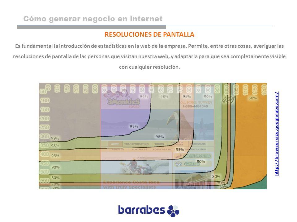 RESOLUCIONES DE PANTALLA Es fundamental la introducción de estadísticas en la web de la empresa. Permite, entre otras cosas, averiguar las resolucione