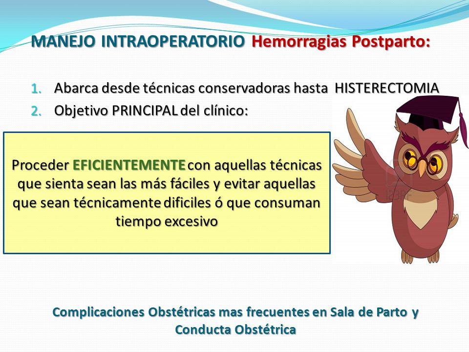 Complicaciones Obstétricas mas frecuentes en Sala de Parto y Conducta Obstétrica ATONIA UTERINA: Incapacidad del miometrio para la contracción EFICAZ.