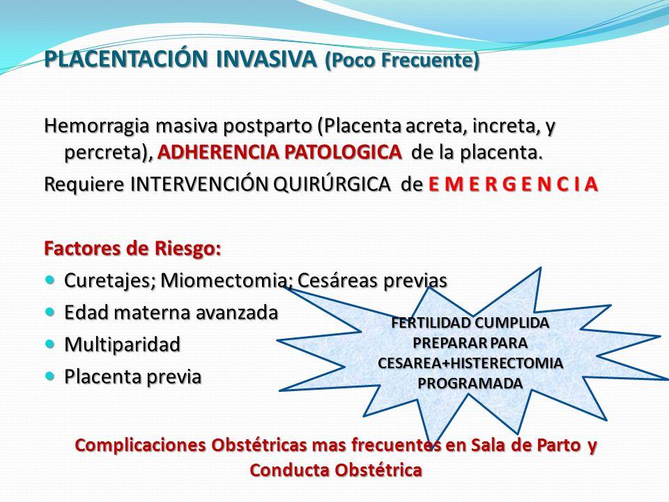 FERTILIDAD CUMPLIDA PREPARAR PARA CESAREA+HISTERECTOMIA PROGRAMADA Complicaciones Obstétricas mas frecuentes en Sala de Parto y Conducta Obstétrica PLACENTACIÓN INVASIVA (Poco Frecuente) Hemorragia masiva postparto (Placenta acreta, increta, y percreta), ADHERENCIA PATOLOGICA de la placenta.