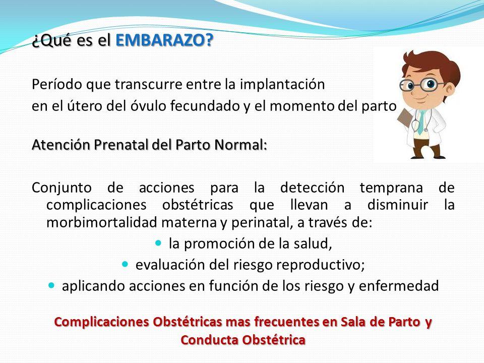 Complicaciones Obstétricas mas frecuentes en Sala de Parto y Conducta Obstétrica ¿Qué es el EMBARAZO.