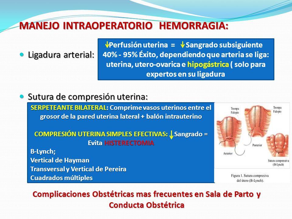 Complicaciones Obstétricas mas frecuentes en Sala de Parto y Conducta Obstétrica MANEJO INTRAOPERATORIO HEMORRAGIA: Ligadura arterial: Ligadura arterial: Sutura de compresión uterina: Sutura de compresión uterina: Perfusión uterina = Sangrado subsiguiente 40% - 95% Éxito, dependiendo que arteria se liga: uterina, utero-ovarica e hipogástrica ( solo para expertos en su ligadura SERPETEANTE BILATERAL: Comprime vasos uterinos entre el grosor de la pared uterina lateral + balón intrauterino COMPRESIÓN UTERINA SIMPLES EFECTIVAS: Sangrado = Evita HISTERECTOMIA B-Lynch; Vertical de Hayman Transversal y Vertical de Pereira Cuadrados múltiples