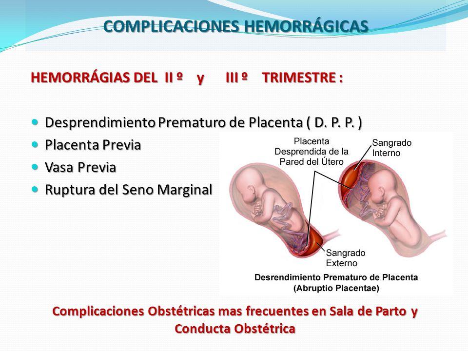 Complicaciones Obstétricas mas frecuentes en Sala de Parto y Conducta Obstétrica HEMORRÁGIAS DEL II º y III º TRIMESTRE : Desprendimiento Prematuro de Placenta ( D.