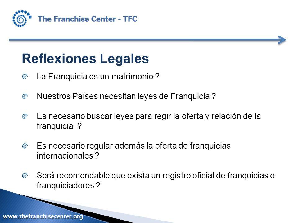 Reflexiones Legales La Franquicia es un matrimonio ? Nuestros Países necesitan leyes de Franquicia ? Es necesario buscar leyes para regir la oferta y