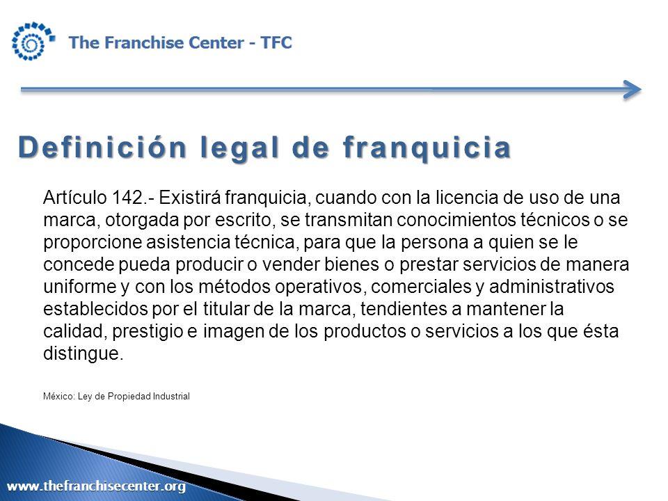 Definición legal de franquicia Artículo 142.- Existirá franquicia, cuando con la licencia de uso de una marca, otorgada por escrito, se transmitan con