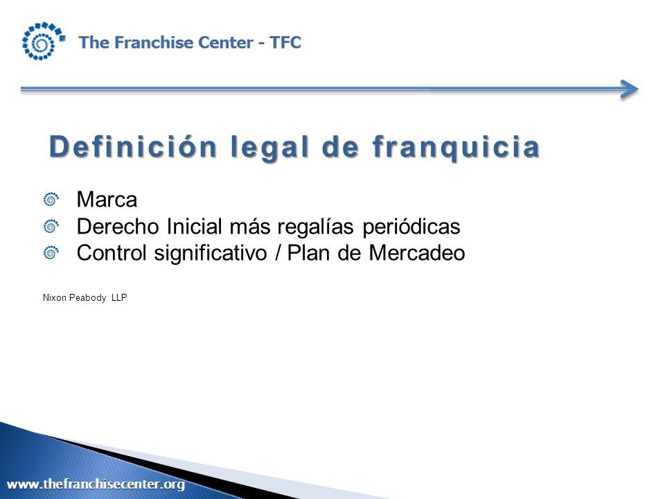 Definición legal de franquicia Marca Derecho Inicial más regalías periódicas Control significativo / Plan de Mercadeo Nixon Peabody LLP www.thefranchi
