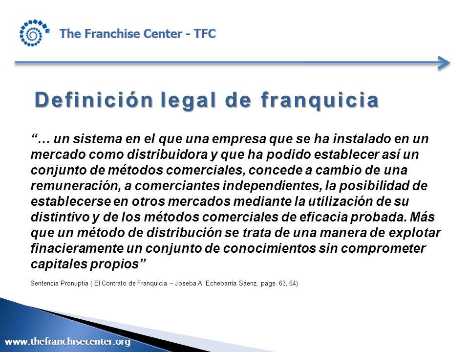 Definiciónlegal de franquicia Definición legal de franquicia … un sistema en el que una empresa que se ha instalado en un mercado como distribuidora y