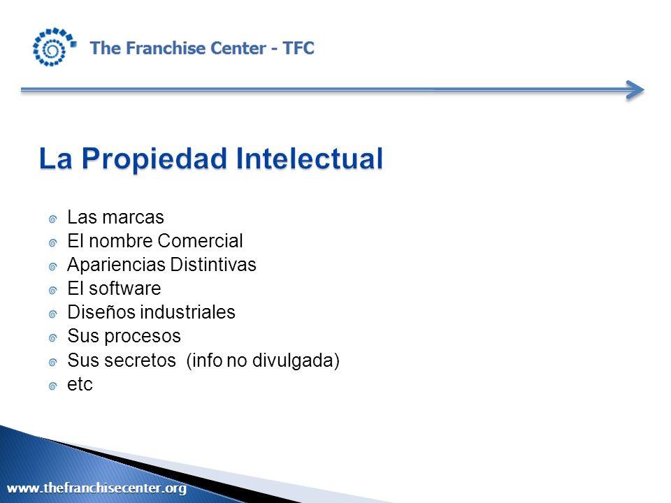 Las marcas El nombre Comercial Apariencias Distintivas El software Diseños industriales Sus procesos Sus secretos (info no divulgada) etc www.thefranc