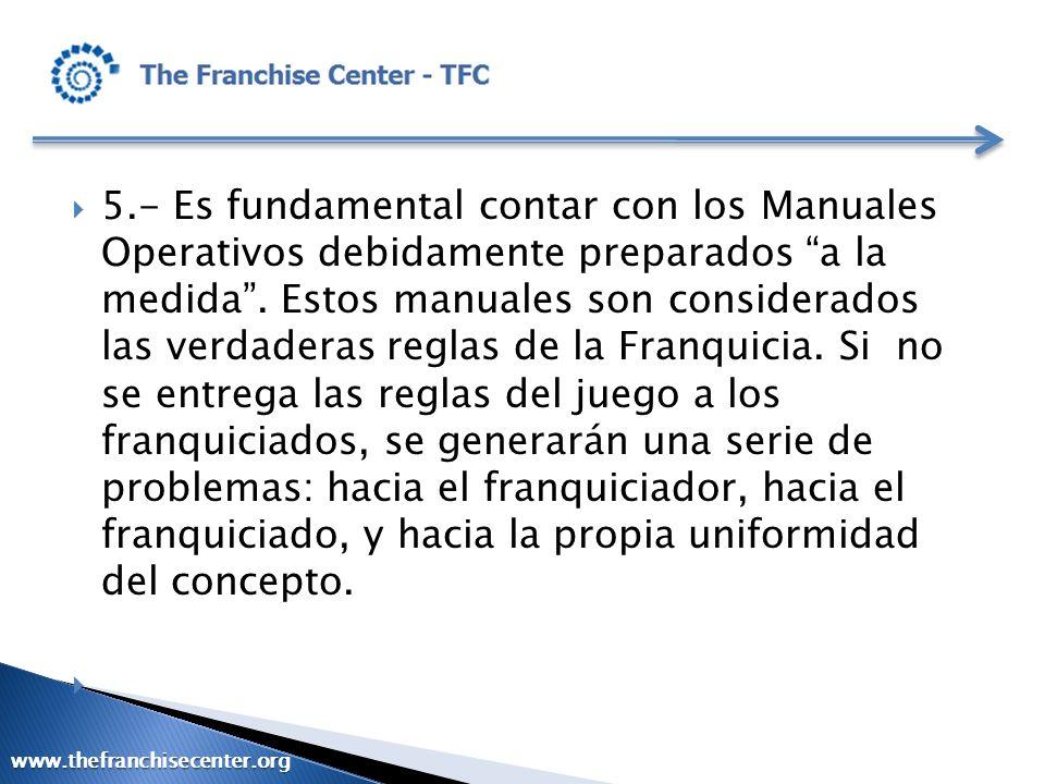 5.- Es fundamental contar con los Manuales Operativos debidamente preparados a la medida. Estos manuales son considerados las verdaderas reglas de la