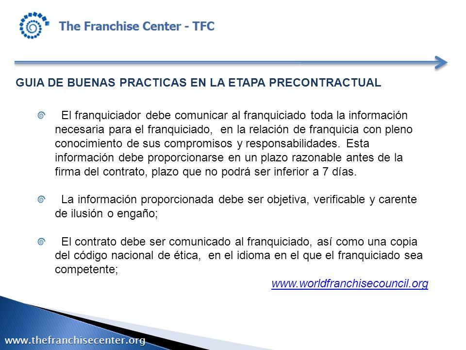 GUIA DE BUENAS PRACTICAS EN LA ETAPA PRECONTRACTUAL El franquiciador debe comunicar al franquiciado toda la información necesaria para el franquiciado