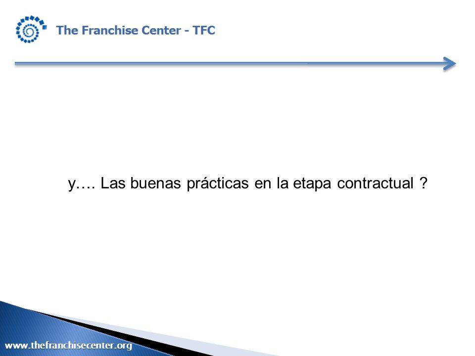 y…. Las buenas prácticas en la etapa contractual ? www.thefranchisecenter.org