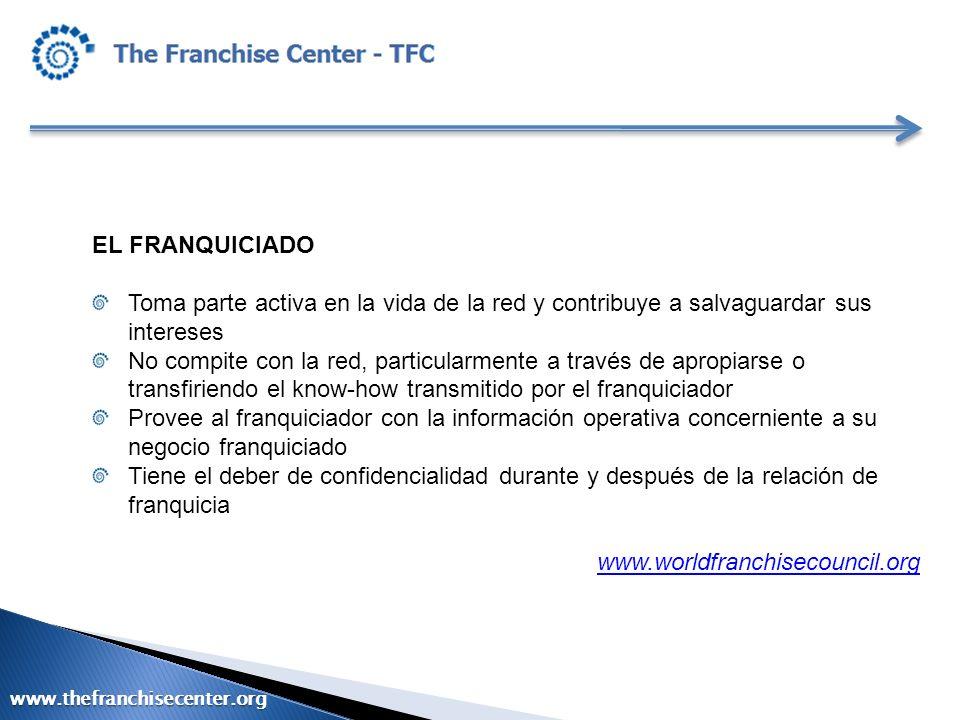 EL FRANQUICIADO Toma parte activa en la vida de la red y contribuye a salvaguardar sus intereses No compite con la red, particularmente a través de ap