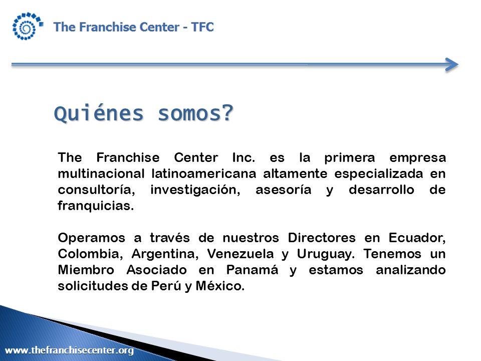 Marco legal para la internacionalización de las franquicias ESTADOS UNIDOS FTC Rule : FDD (14 días previo a firma/dinero) Estados No Registrables Estados Registrables (15) www.thefranchisecenter.org
