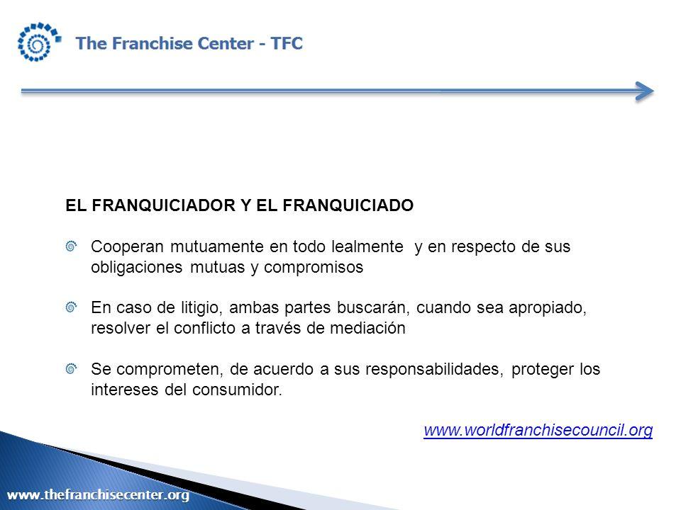 EL FRANQUICIADOR Y EL FRANQUICIADO Cooperan mutuamente en todo lealmente y en respecto de sus obligaciones mutuas y compromisos En caso de litigio, am