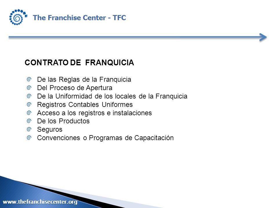 CONTRATO DE FRANQUICIA De las Reglas de la Franquicia Del Proceso de Apertura De la Uniformidad de los locales de la Franquicia Registros Contables Un