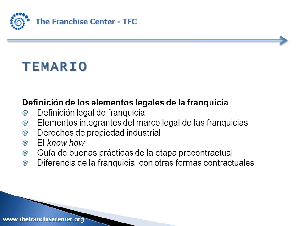 TEMARIO Marco legal de la franquicia Legislación existente Armonización con otras formas existentes www.thefranchisecenter.org