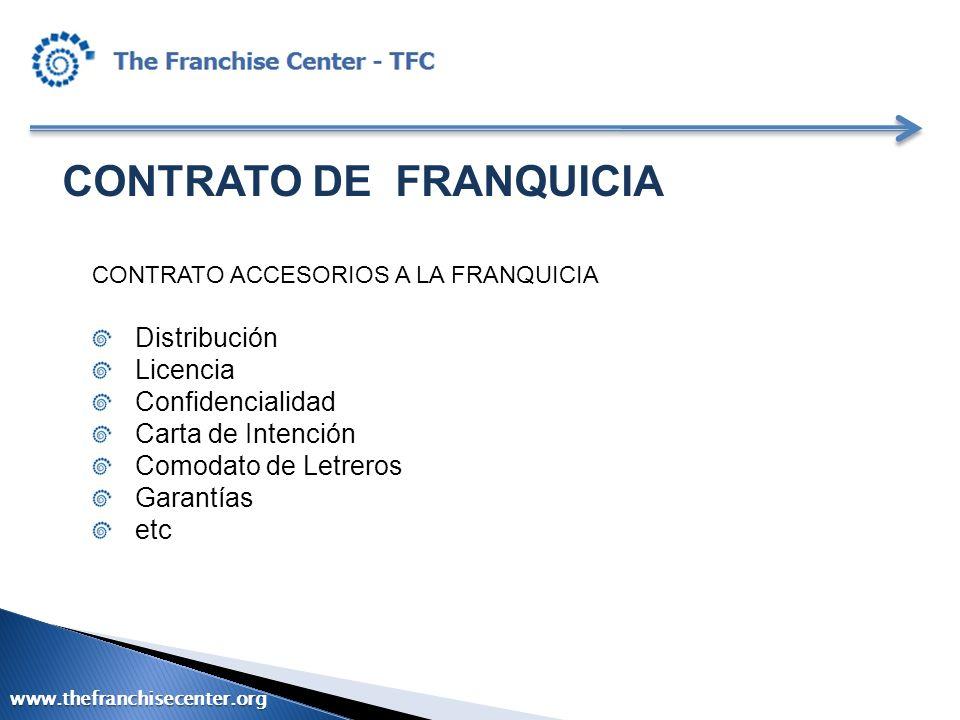CONTRATO DE FRANQUICIA CONTRATO ACCESORIOS A LA FRANQUICIA Distribución Licencia Confidencialidad Carta de Intención Comodato de Letreros Garantías et