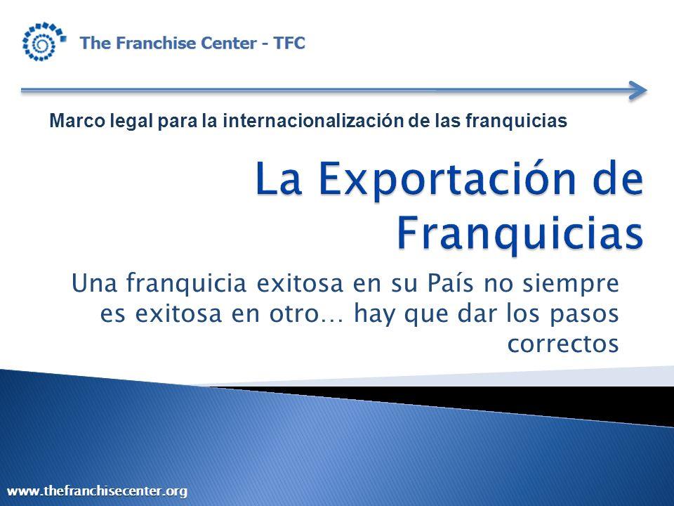 Marco legal para la internacionalización de las franquicias Una franquicia exitosa en su País no siempre es exitosa en otro… hay que dar los pasos cor