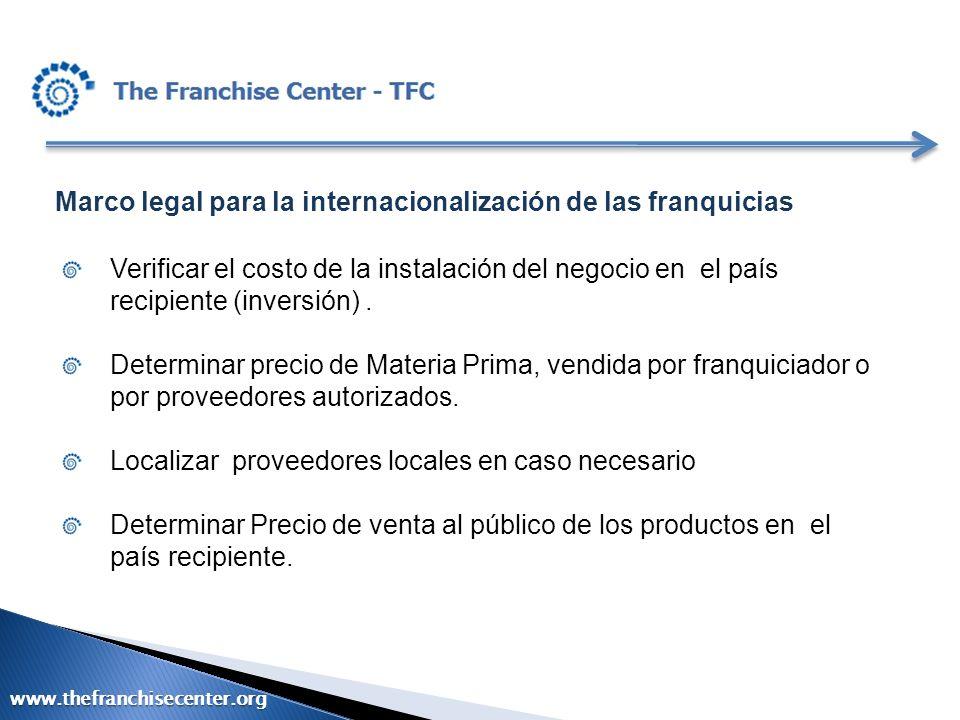 Marco legal para la internacionalización de las franquicias Verificar el costo de la instalación del negocio en el país recipiente (inversión). Determ