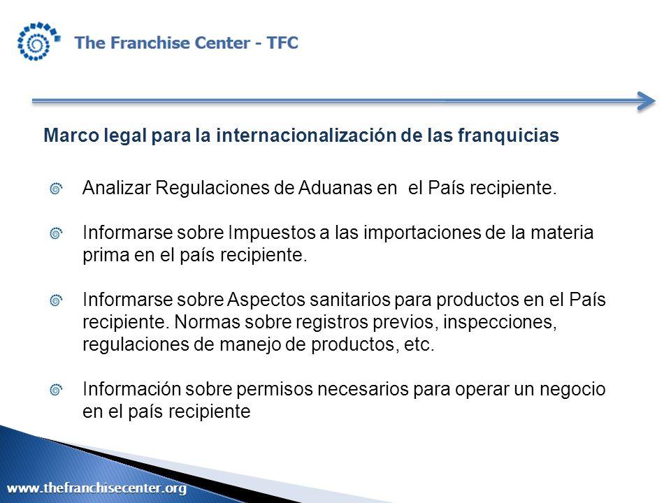 Marco legal para la internacionalización de las franquicias Analizar Regulaciones de Aduanas en el País recipiente. Informarse sobre Impuestos a las i