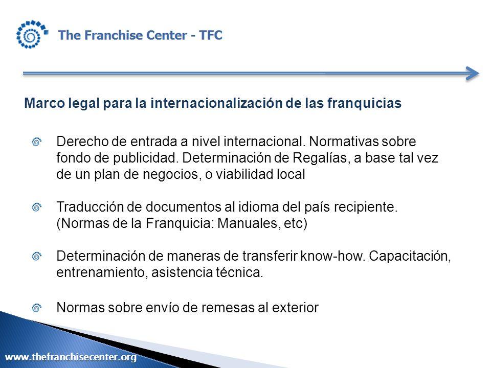 Marco legal para la internacionalización de las franquicias Derecho de entrada a nivel internacional. Normativas sobre fondo de publicidad. Determinac