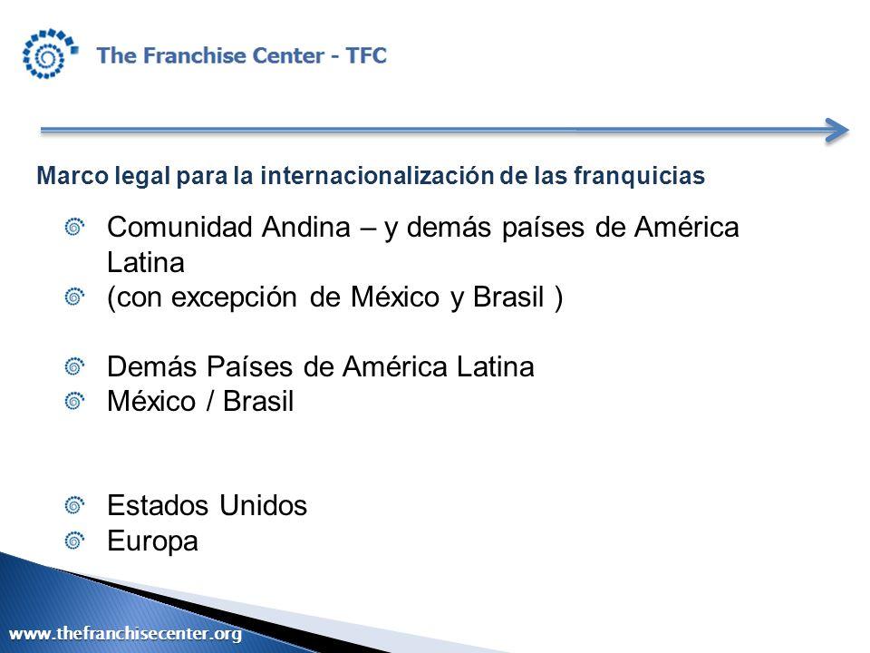 Marco legal para la internacionalización de las franquicias Comunidad Andina – y demás países de América Latina (con excepción de México y Brasil ) De