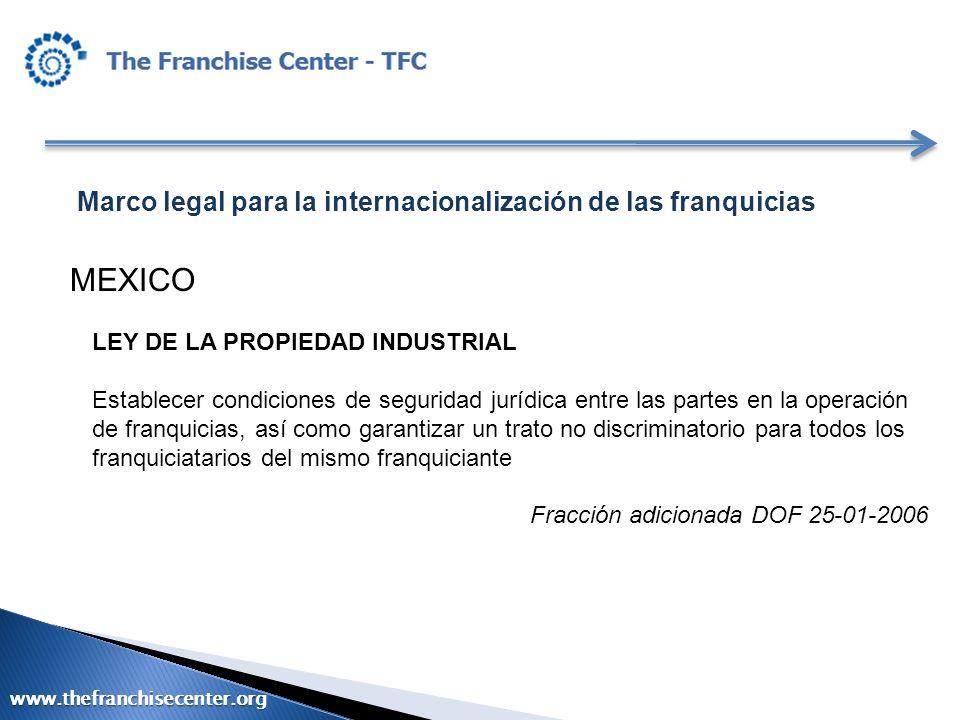 Marco legal para la internacionalización de las franquicias MEXICO LEY DE LA PROPIEDAD INDUSTRIAL Establecer condiciones de seguridad jurídica entre l