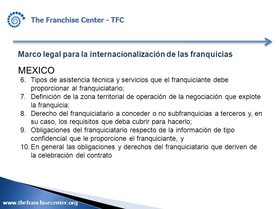 Marco legal para la internacionalización de las franquicias MEXICO 6.Tipos de asistencia técnica y servicios que el franquiciante debe proporcionar al
