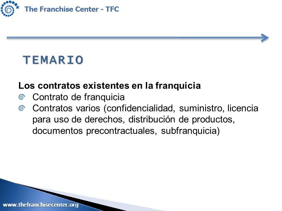 TEMARIO Los contratos existentes en la franquicia Contrato de franquicia Contratos varios (confidencialidad, suministro, licencia para uso de derechos