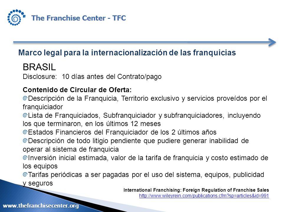 Marco legal para la internacionalización de las franquicias BRASIL Disclosure: 10 días antes del Contrato/pago Contenido de Circular de Oferta: Descri
