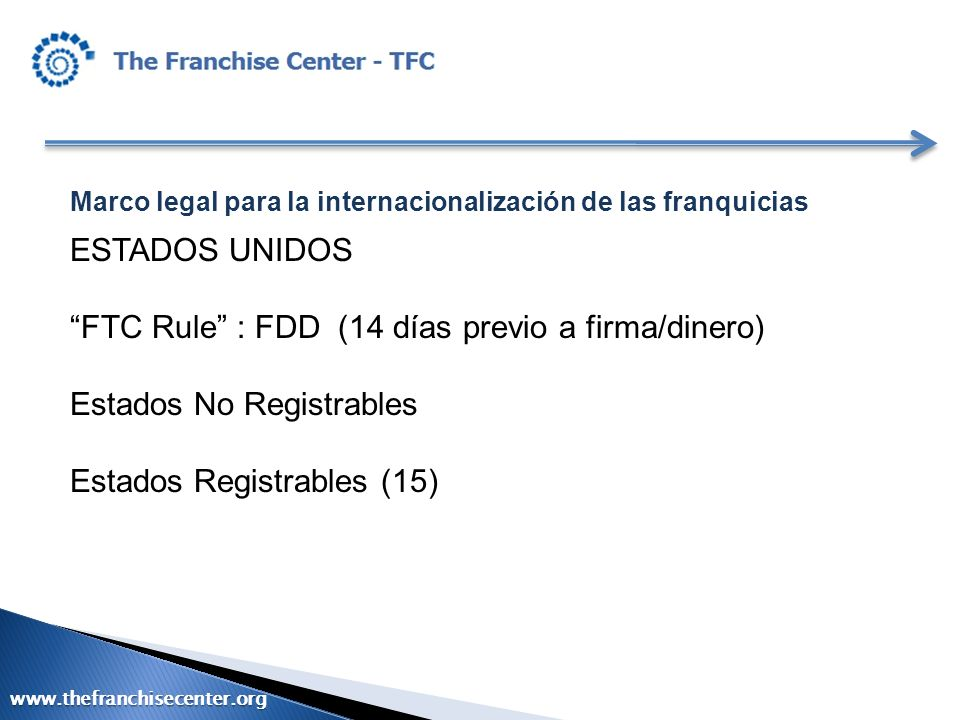 Marco legal para la internacionalización de las franquicias ESTADOS UNIDOS FTC Rule : FDD (14 días previo a firma/dinero) Estados No Registrables Esta